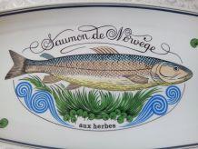 """Plat à poisson en porcelaine d'AUTEUIL. Ligne """" MARINE """" J L"""