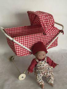 Jouet ancien : landeau de poupée des années 60
