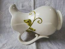 Pichet faïence blanche décor citrons
