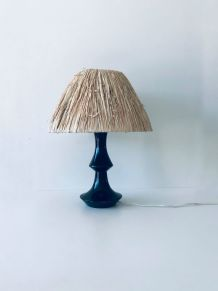 Lampe bohème bois et raphia