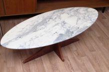 Table basse en marbre ovale 1960's