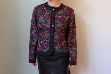 Vintage années 90 mini veste blazer brodée noir multicolore