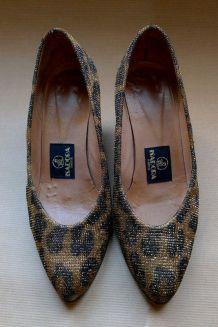 vintage 80s chaussures à talons stiletto lurex léopard taill