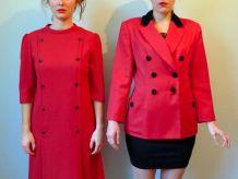 Vintage années 90 veste blazer double boutonnage laine rouge