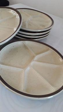 Assiettes à fondue (x6) porcelaine de Ghien