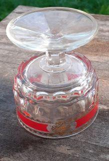 Lot 4 ancien verre forme verre ciselé à pied Vintage 1960