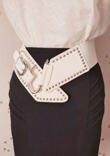 Vintage 80 ceinture large élastique blanc argent