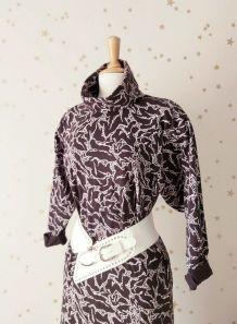Vintage 90 robe Tshirt  imprimé abstrait noir blanc