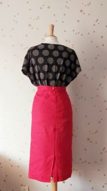 Vintage  80 jupe crayon taille haute lin rouge S