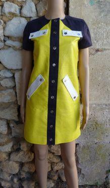 Courrèges robe mini simili cuir taille 36