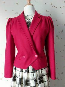 Vintage 80 mini blazer veste croisée laine rouge M