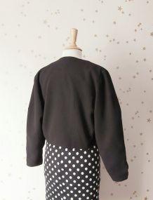 Vintage  80 mini veste bolero crêpe noire