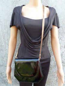 LANVIN sac bandoulière noir cuir vernis vintage