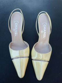 CHANEL scandales cuir vernis jaune taille 38.5/39