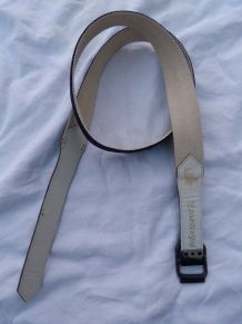 Yves Saint Laurent ceinture bleu marine toile cuir