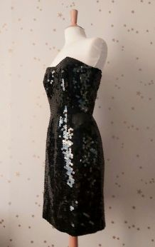 Vintage 80 robe bustier sequins perles noires M