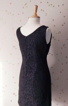 Vintage 60 robe sans manches dentelle noire M