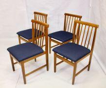 Set de 4 chaises scandinave année 50 restaurées tissu bleu f