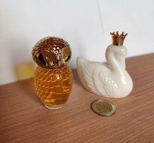 2  jolis flacons AVON CYGNE couronné, CHOUETTE