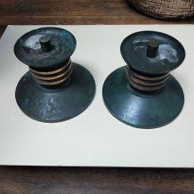 Paire de bougeoirs art déco en bronze