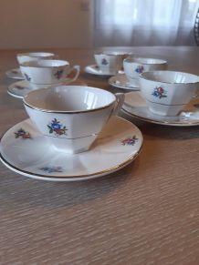6 anciennes tasses et leurs sous tasses, vintage 1920, shabb