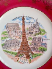 Assiette porcelaine d'art, décor de Paris