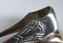 Pince à sucre Art Déco métal argenté + jolie Cuillère à frai
