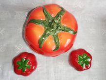 """Set condiment en céramique """"Tomate"""" vintage"""