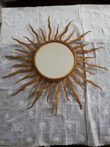 Miroir soleil vintage, métal doré