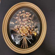 Lot de cadre en verre bombé fleurs séchées