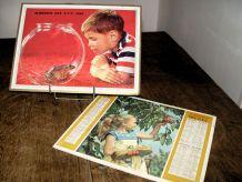 Lot de 2 almanachs PTT, 1963 / 1965 Thème enfants & animaux