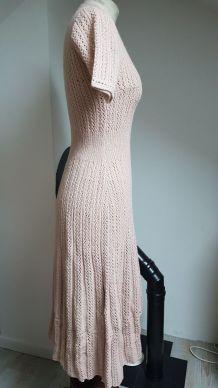 robe en crochet vintage rose  pale