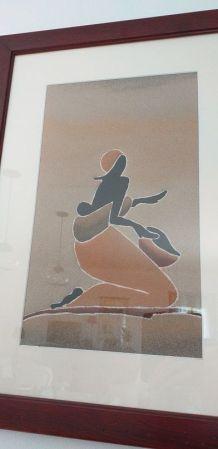Dessin Femme africaine en sable encadré