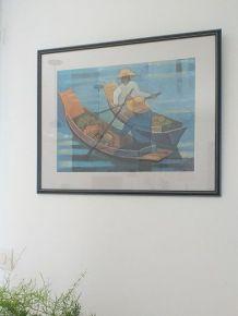"""Affiche encadrée """" Le marché flottant"""""""