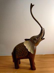 Éléphant sculpture statuette bois/metal