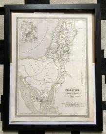 Carte géographique 19ème numérotée PALESTINE tribus