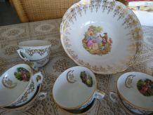 Service à café et dessert Fragonard porcelaine 41 pièces