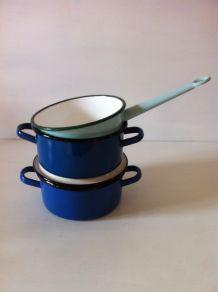 Faitouts et casserole en tôle émaillée