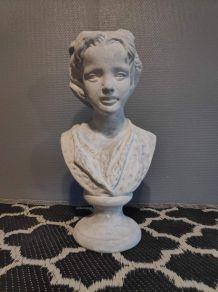 buste jeune fille en pierre reconstituée et patinée