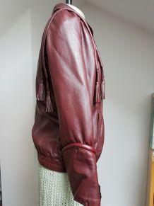 blouson vintage bordeaux avec pompon T 36