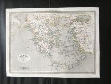 Carte géographique 19ème numérotée GRECE ancienne