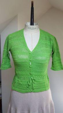 gilet en crochet vert