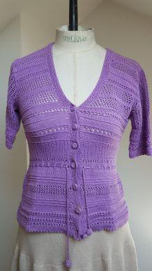 gilet en crochet violet