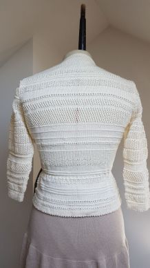 gilet en crochet blanc cassé