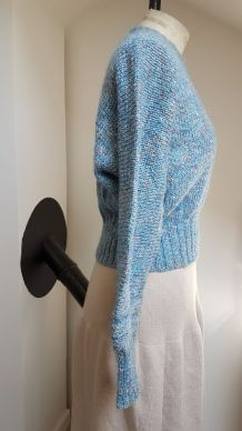 pull en laine  marron et bleu