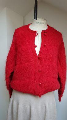 gilet en laine  rouge