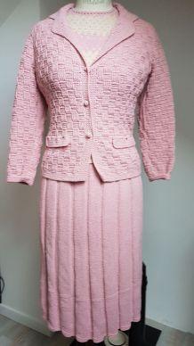 ensemble vintage rose  en laine