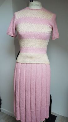ensemble vintage rose  en laine