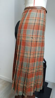 jupe plissée style écossais marron