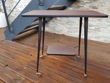 Meuble TV Table Vintage en stratifié sur roulettes